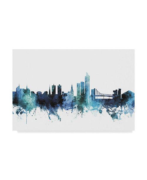 "Trademark Global Michael Tompsett 'Oslo Norway Blue Teal Skyline' Canvas Art - 19"" x 12"""