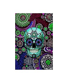 "Fusion Idol Arts 'Sugar Skull Sombrero Night' Canvas Art - 12"" x 19"""