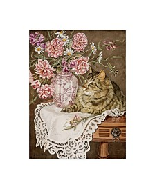 """Jan Benz 'Sweet Peas And Roses' Canvas Art - 14"""" x 19"""""""