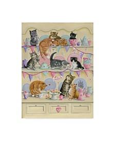 """Janet Pidoux 'Kittens On Dresser' Canvas Art - 14"""" x 19"""""""