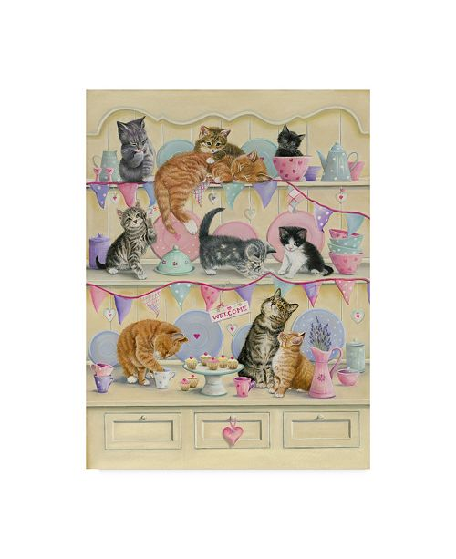 "Trademark Global Janet Pidoux 'Kittens On Dresser' Canvas Art - 14"" x 19"""