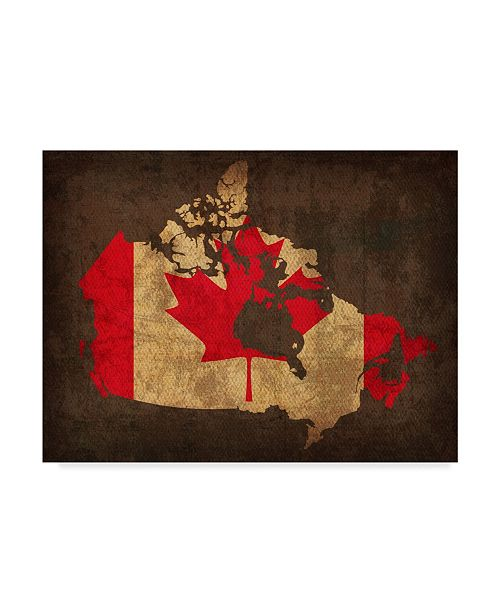 "Trademark Global Red Atlas Designs 'Canada Country Flag Map' Canvas Art - 19"" x 14"""