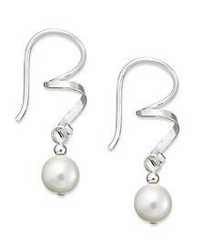 Jody Coyote Sterling Silver Earrings, Austrian Crystal Pearl Swirl Drop Earrings