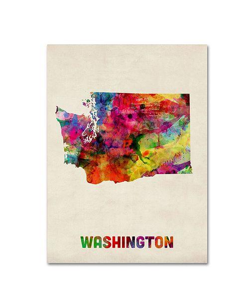 "Trademark Global Michael Tompsett 'Washington Map' Canvas Art - 19"" x 14"""