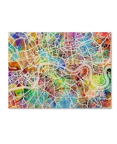 "Trademark Global Michael Tompsett 'London England Street Map II' Canvas Art - 18"" x 24"""