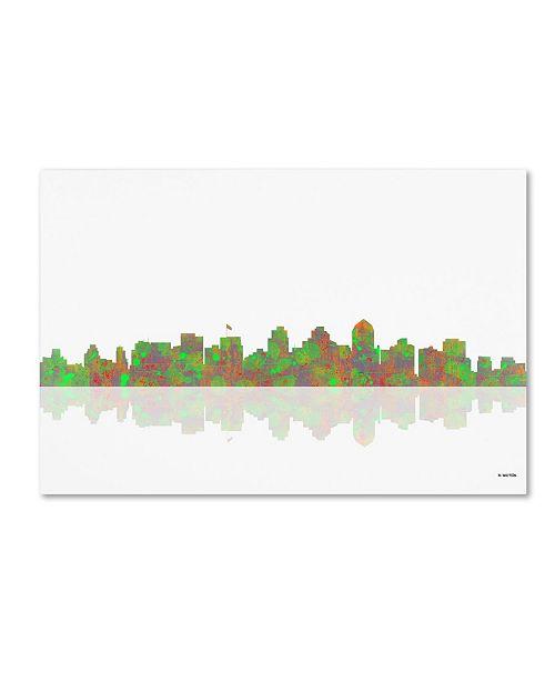 "Trademark Global Marlene Watson 'San Diego California Skyline' Canvas Art - 16"" x 24"""