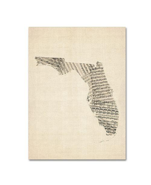 "Trademark Global Michael Tompsett 'Old Sheet Music Map of Florida' Canvas Art - 18"" x 24"""