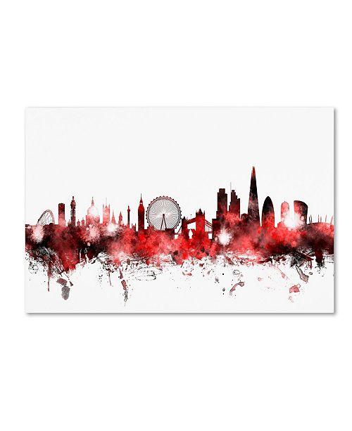 "Trademark Global Michael Tompsett 'London England Skyline 2' Canvas Art - 16"" x 24"""