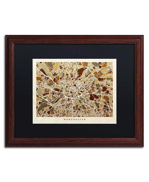 """Trademark Global Michael Tompsett 'Manchester England Street Map II' Matted Framed Art - 16"""" x 20"""""""