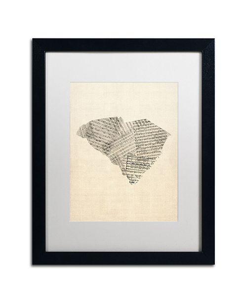 """Trademark Global Michael Tompsett 'Sheet Music Map of South Carolina' Matted Framed Art - 16"""" x 20"""""""