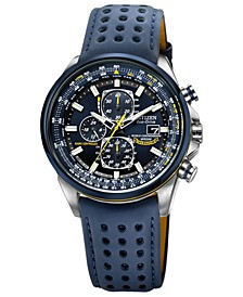 Men's Eco-Drive Blue Angels World Chronograph A-T Blue Perforated Leather Strap Watch 43mm AT8020-03L
