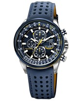 225db562c52 Citizen Men s Eco-Drive Blue Angels World Chronograph A-T Blue Perforated  Leather Strap Watch 43mm