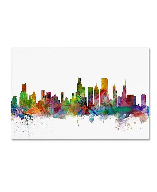 "Trademark Global Michael Tompsett 'Chicago Illinois Skyline' Canvas Art - 18"" x 28"""