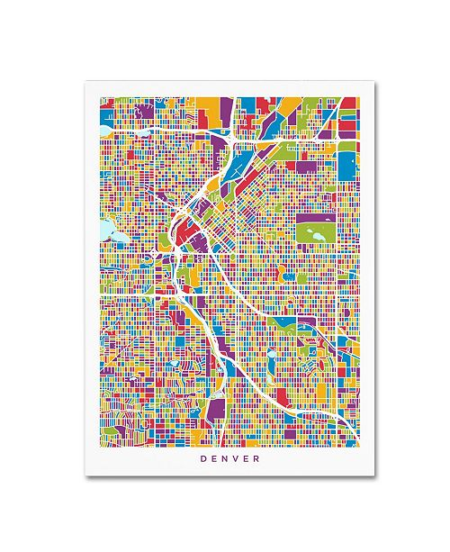 "Trademark Global Michael Tompsett 'Denver Colorado Street Map 2' Canvas Art - 35"" x 47"""