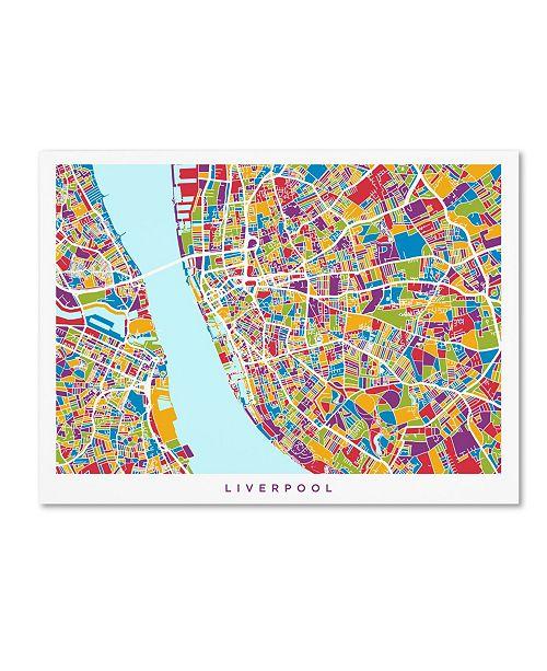 """Trademark Global Michael Tompsett 'Liverpool England Street Map 4' Canvas Art - 35"""" x 47"""""""
