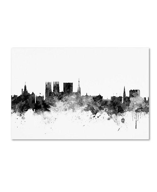 "Trademark Global Michael Tompsett 'York England Skyline B&W' Canvas Art - 30"" x 47"""
