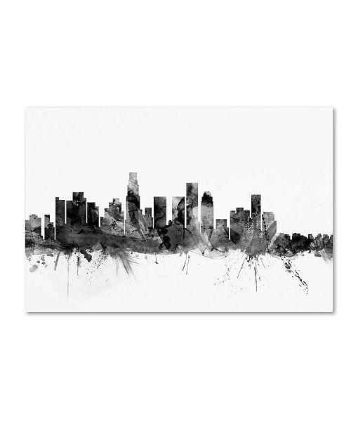 "Trademark Global Michael Tompsett 'Los Angeles CA Skyline B&W' Canvas Art - 30"" x 47"""