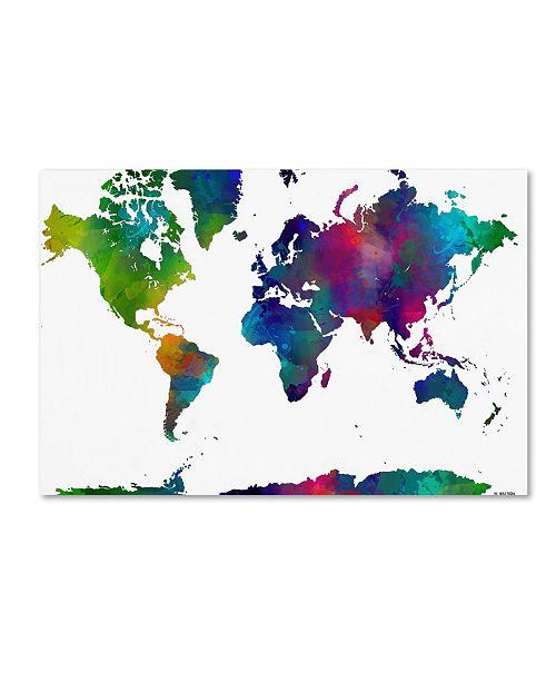 """Trademark Global Marlene Watson 'World Map Clr-1' Canvas Art - 24"""" x 32"""""""