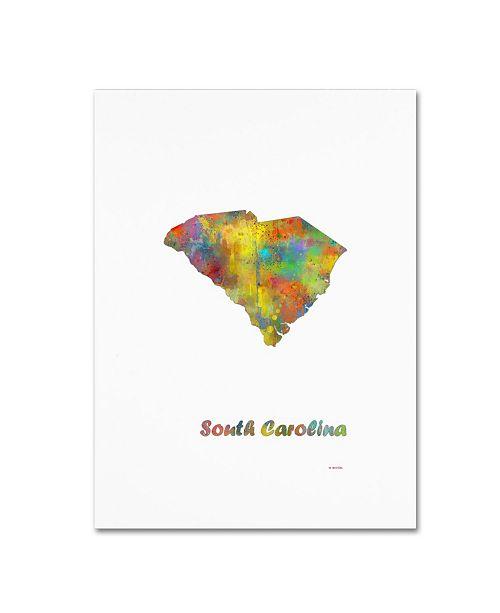 "Trademark Global Marlene Watson 'South Carolina State Map-1' Canvas Art - 35"" x 47"""
