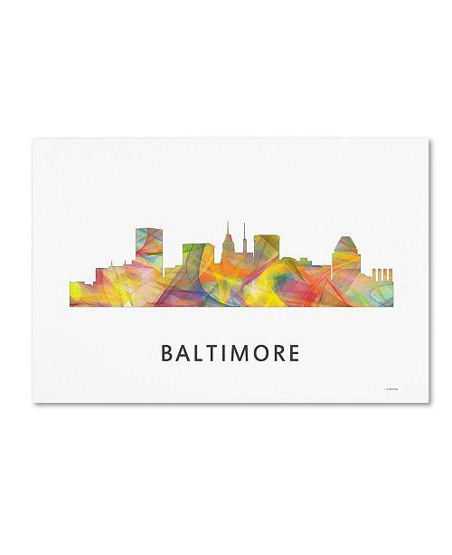 "Trademark Global Marlene Watson 'Baltimore Maryland Skyline WB-1' Canvas Art - 22"" x 32"""