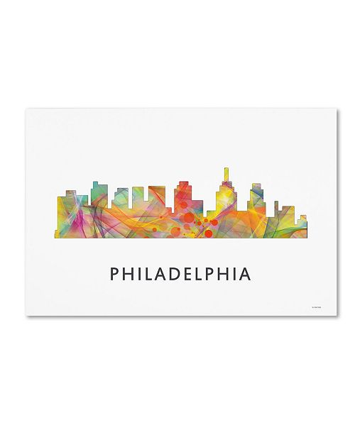 "Trademark Global Marlene Watson 'Philadelphia Skyline WB-1' Canvas Art - 22"" x 32"""
