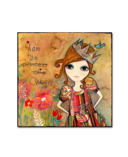 "Trademark Global Wyanne 'Big Eyed Girl I Am The Queen (With Words)' Canvas Art - 24"" x 24"""