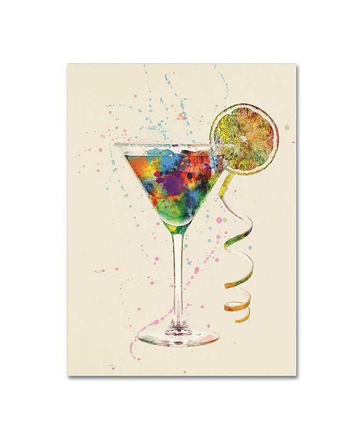 "Trademark Global Michael Tompsett 'Cocktail Drinks Glass Watercolor VIII' Canvas Art - 35"" x 47"""