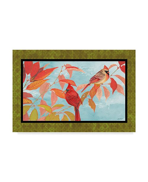 """Trademark Global Jean Plout 'Cardinal Pair In The Fall' Canvas Art - 22"""" x 32"""""""