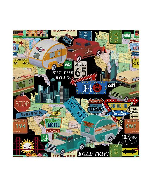"Trademark Global Jean Plout 'American Traveler Black' Canvas Art - 24"" x 24"""