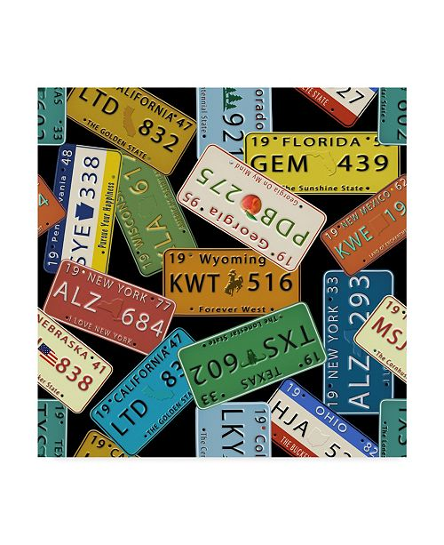 """Trademark Global Jean Plout 'Classic License Plates Black' Canvas Art - 24"""" x 24"""""""