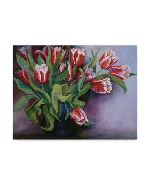 "Trademark Global Joanne Porter 'White Tipped Red Tulips' Canvas Art - 35"" x 47"""