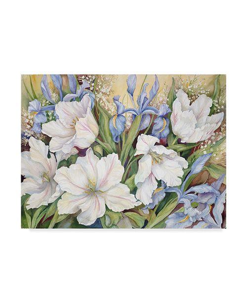 "Trademark Global Joanne Porter 'White Tulips Blue Iris' Canvas Art - 24"" x 32"""