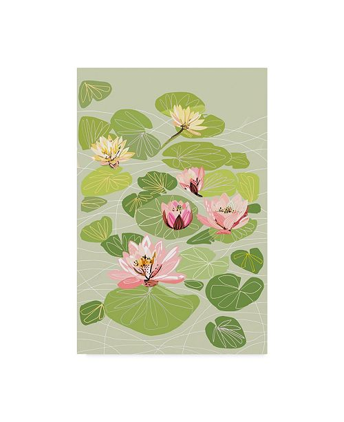 "Trademark Global Karen Fields 'Pink Water Lilies In Pond' Canvas Art - 30"" x 47"""