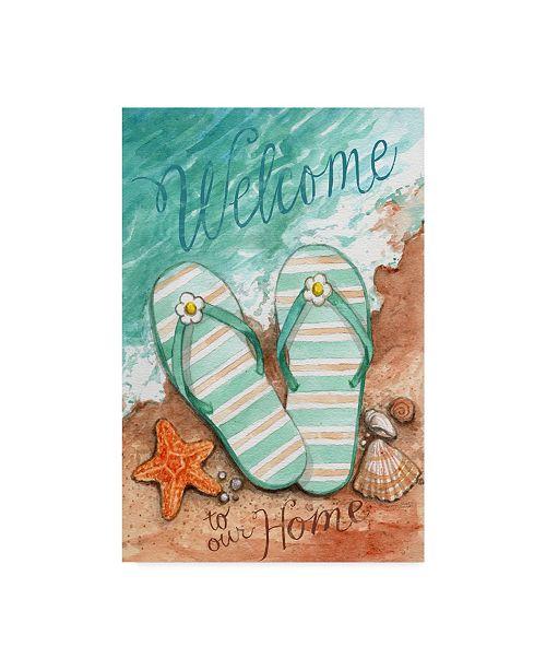 "Trademark Global Melinda Hipsher 'Flip Flops On The Beach Welcome' Canvas Art - 22"" x 32"""