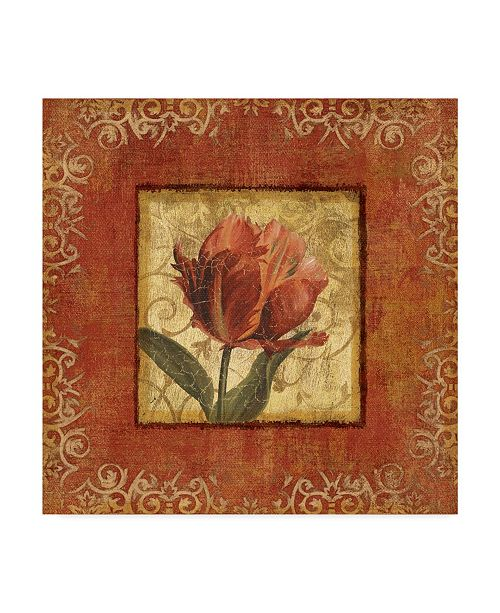 """Trademark Global Lisa Audit 'Red and Gold Flower I' Canvas Art - 35"""" x 35"""""""