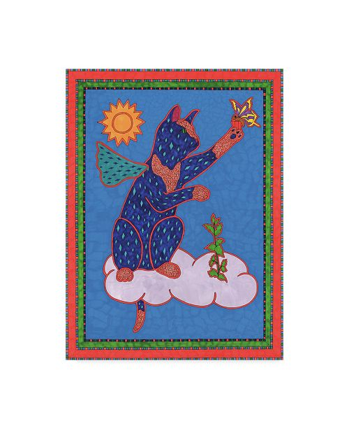 "Trademark Global Willow Bascom 'Cat On Cloud' Canvas Art - 35"" x 47"""