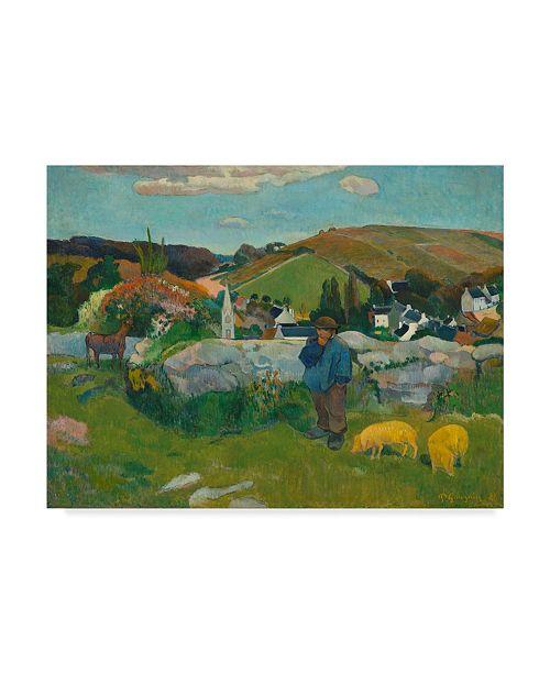 "Trademark Global Paul Gauguin 'The Swineherd' Canvas Art - 32"" x 24"""
