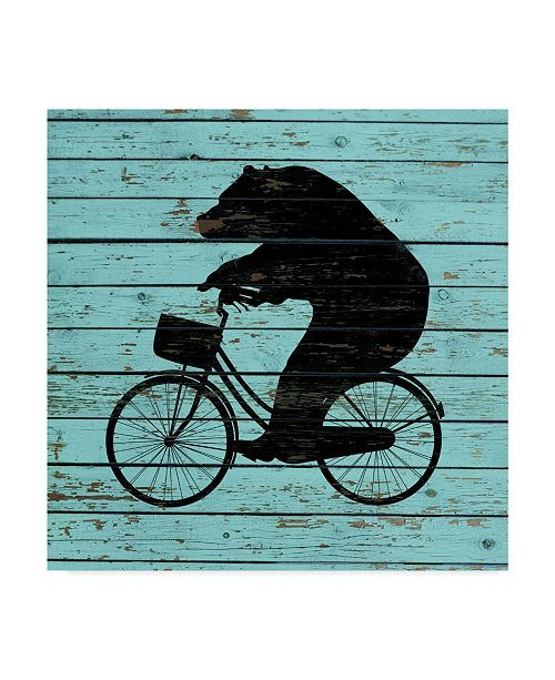"Trademark Global J Hovenstine Studios 'Bear On Bike On Old Board' Canvas Art - 35"" x 35"""