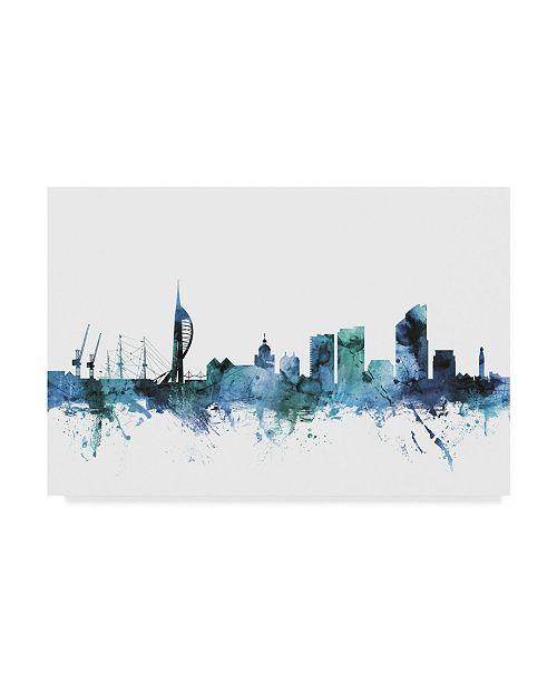 "Trademark Global Michael Tompsett 'Portsmouth England Blue Teal Skyline' Canvas Art - 24"" x 16"""