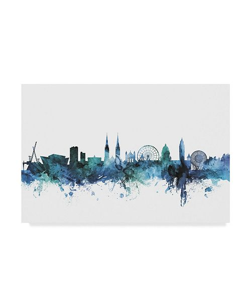 "Trademark Global Michael Tompsett 'Belfast Blue Teal Skyline' Canvas Art - 32"" x 22"""