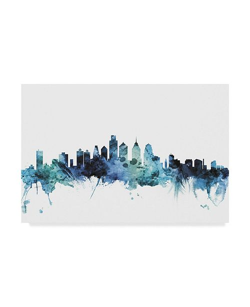 "Trademark Global Michael Tompsett 'Philadelphia Blue Teal Skyline' Canvas Art - 47"" x 30"""