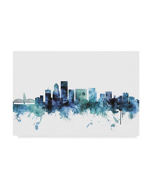 "Trademark Global Michael Tompsett 'Portland Oregon Blue Teal Skyline' Canvas Art - 24"" x 16"""