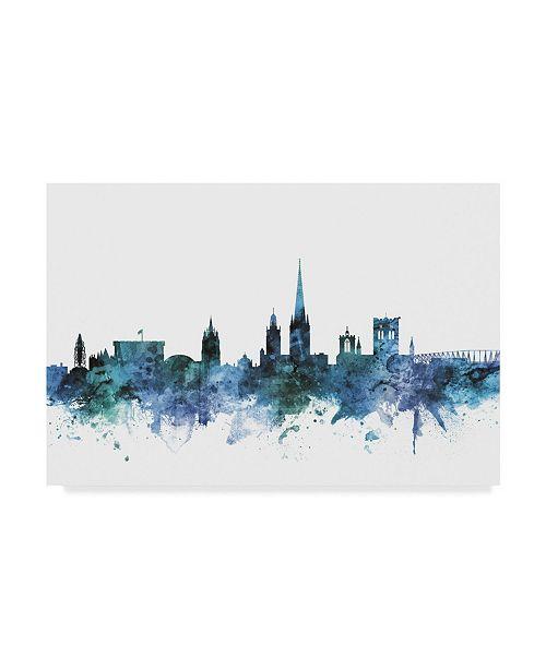 "Trademark Global Michael Tompsett 'Norwich England Blue Teal Skyline' Canvas Art - 32"" x 22"""