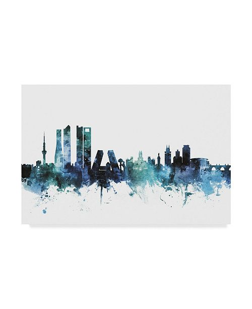 "Trademark Global Michael Tompsett 'Madrid Spain Blue Teal Skyline' Canvas Art - 32"" x 22"""