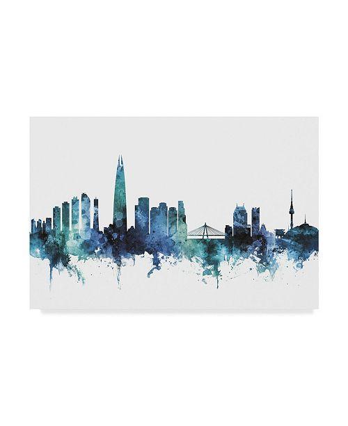 "Trademark Global Michael Tompsett 'Seoul Blue Teal Skyline' Canvas Art - 47"" x 30"""