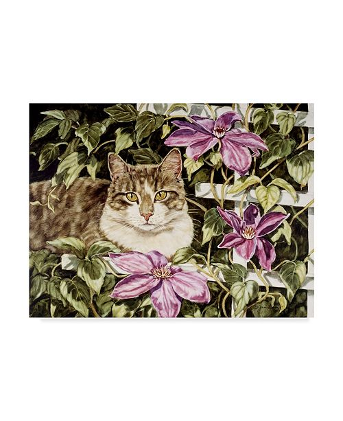 """Trademark Global Jan Benz 'Muffit In The Clematis' Canvas Art - 32"""" x 24"""""""