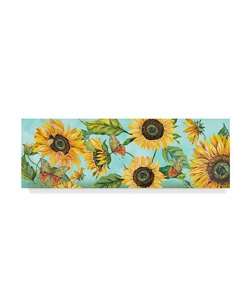 """Trademark Global Jean Plout 'Sunflower Garden 2' Canvas Art - 32"""" x 10"""""""