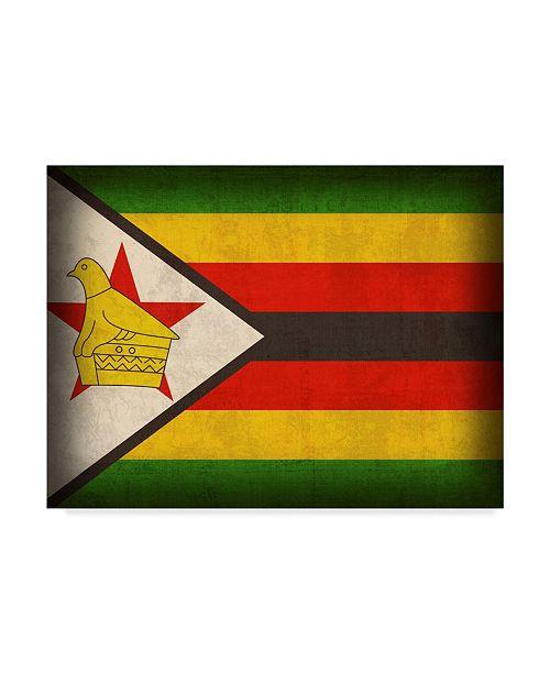 "Trademark Global Red Atlas Designs 'Zimbabwe Distressed Flag' Canvas Art - 24"" x 18"""