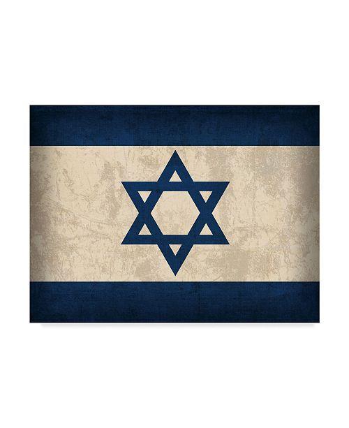"Trademark Global Red Atlas Designs 'Israel Distressed Flag' Canvas Art - 24"" x 18"""