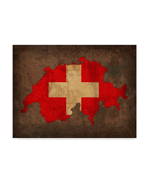 "Trademark Global Red Atlas Designs 'Switzerland Country Flag Map' Canvas Art - 32"" x 24"""